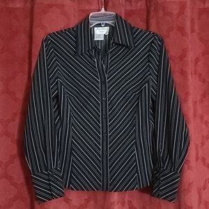 Fred David Petite Small Womens Button Front Blouse